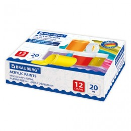 Краски акриловые для рисования и хобби BRAUBERG 12 цветов по 20мл (6 базовые+6 с эффе, 191607