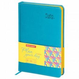 Ежедневник датированный 2022 А5 (138х213мм) BRAUBERG Rainbow бирюзовый, код_, 112768