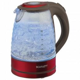 Чайник SCARLETT SC-EK27G62,  1,7л, 2200Вт, закрытый нагревательный элемент, стекло, красный
