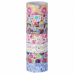 Клейкие WASHI-ленты для декора Микс №2, 15 мм х 3 м, 7 цветов, рисовая бумага, ОСТРОВ СОКРОВИЩ, 661710