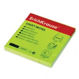 Блок самоклеящийся (стикер) ERICH KRAUSE НЕОН, 75х75 мм, 80 листов, зеленый, 7335