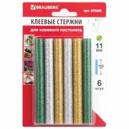 Клеевые стержни, диаметр 11 мм, длина 100 мм, цветные (ассорти), с блестками, комплект 6 шт., BRAUBERG, 670320