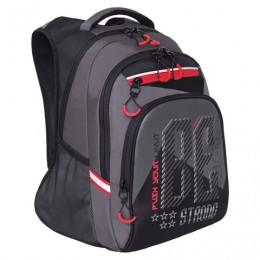 Рюкзак GRIZZLY школьный, анатомическая спинка, черн/серый, Strong, 39x26x20 см, RB-05, RB-050-3/1