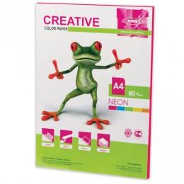 Бумага CREATIVE color (Креатив) А4, 80 г/м2, 50 л., неон, малиновая, БНpr-50м