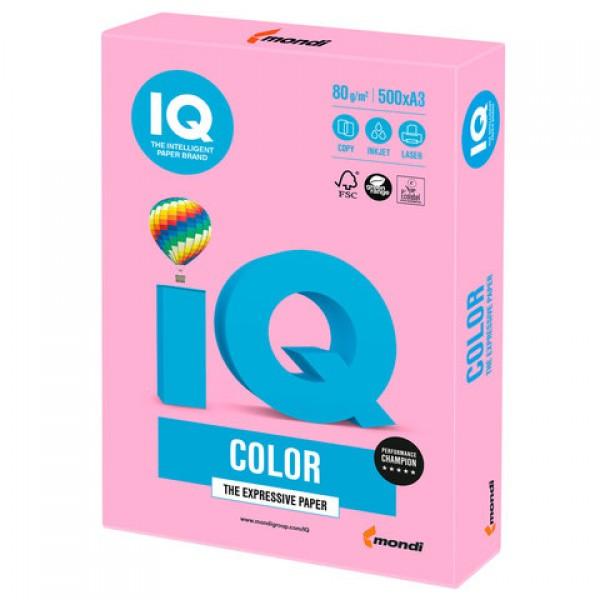 Бумага цветная IQ color БОЛЬШОЙ ФОРМАТ (297х420 мм), А3, 80 г/м2, 500 л., неон, розовая, NEOPI