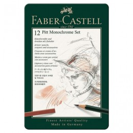 Набор художественный FABER-CASTELL Pitt Monochrome, 12 предметов, металлическая коробка, 112975