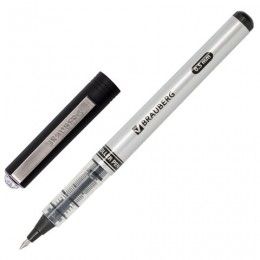 Ручка-роллер BRAUBERG Flagman, ЧЕРНАЯ, корпус серебристый, хромированные детали, узел 0,5 мм, линия письма 0,3 мм, 141555