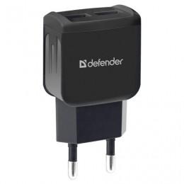 Зарядное устройство сетевое (220 В) DEFENDER UPA-22, 2 порта USB, выходной ток 2,1 А, черное, 83579