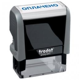 Штамп стандартный ОПЛАЧЕНО, оттиск 38х14 мм, синий, TRODAT 4911P4-1.2, 53559