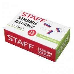 Зажимы для бумаг STAFF, КОМПЛЕКТ 12 шт., 25 мм, на 100 листов, Триколор, картонная коробка, 226252