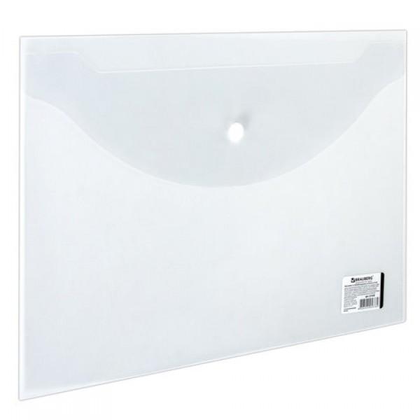 Папка-конверт с кнопкой BRAUBERG, А4, до 100 листов, прозрачная, 0,15 мм, 221638