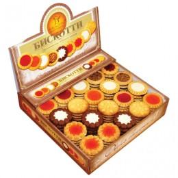 Печенье БИСКОТТИ (Россия) Ассорти, 9 видов, глазированное, сдобное, 1,9 кг, картонный шоу-бокс