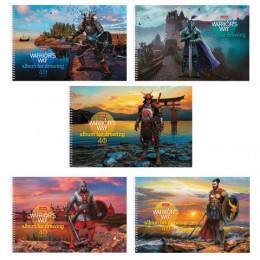 Альбом для рисования А4, 40 листов, спираль, конгрев, фольга, HATBER, 205х300 мм, Путь воина (5 видов), 40А4КфвлВсп