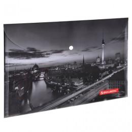 Папка-конверт с кнопкой BRAUBERG NIGHT CITY, А4, 160 мкм, цветная печать, 228033