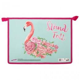 Папка для тетрадей ЮНЛАНДИЯ А4, 1 отделение, картон/пластик, глиттер, молния сверху, Flamingo, 270104