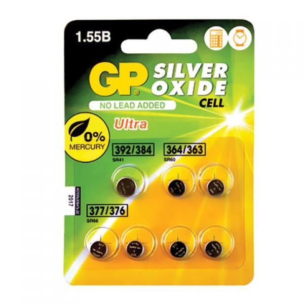 Батарейки GP Silver oxide, комплект 7 шт. (392/384 1 шт., 364/363 2 шт., 377/376 4 шт.), в блистере, 4891199150494