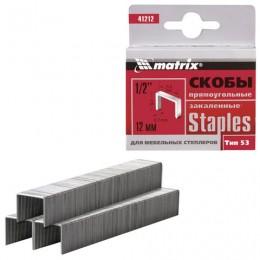 Скобы для степлера мебельного, тип 53, 12 мм, MATRIX
