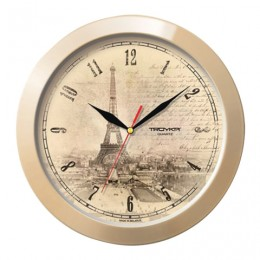 Часы настенные TROYKA 11135152, круг, бежевые с рисунком Париж, бежевая рамка, 29х29х3,5 см