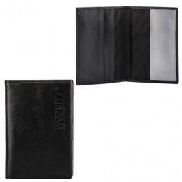 Обложка для паспорта FABULA Estet, натуральная кожа, тиснение Passport, черная, O.3.MN