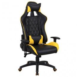 Кресло компьютерное BRABIX GT Master GM-110, две подушки, экокожа, черное/желтое, 531927