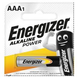 Батарейка ENERGIZER Alkaline Power, AAA (LR03, 24А), алкалиновая, 1 шт., в блистере (отрывной блок), Е300140400