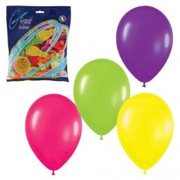 Шары воздушные 7 (18 см), комплект 100 шт., 12 неоновых цветов, в пакете, 1101-0021
