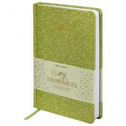 Ежедневник датированный 2022 А5 (138х213мм) BRAUBERG Sparkle зеленый, 112827