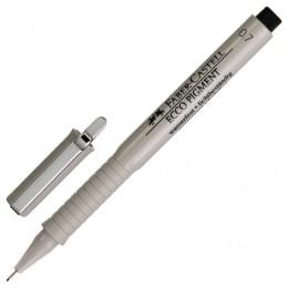 Ручка капиллярная FABER-CASTELL Ecco Pigment, ЧЕРНАЯ, корпус серый, линия письма 0,7 мм, 166799