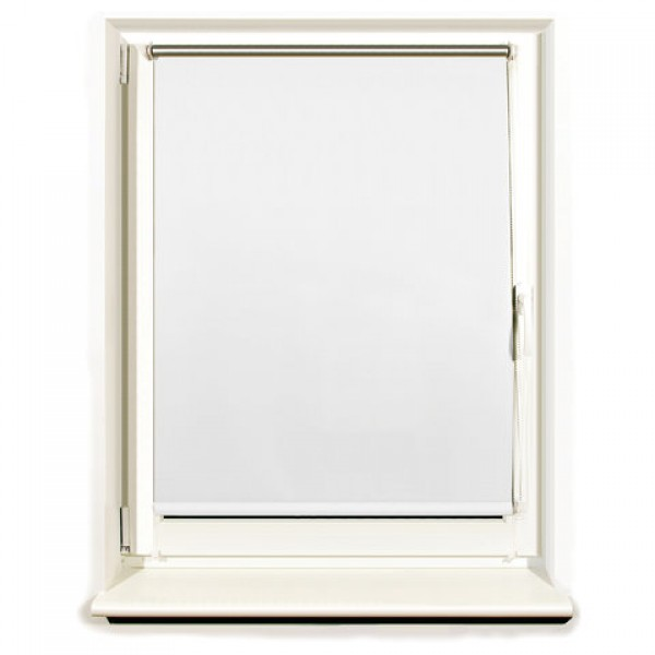 Штора рулонная светонепроницаемая (Блэкаут) BRABIX 60х175 см, белый/серебро, 606007