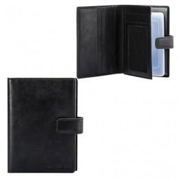 Бумажник водителя FABULA Estet, натуральная кожа, тиснение, 6 пластиковых карманов, кнопка, черный, BV.7. MN