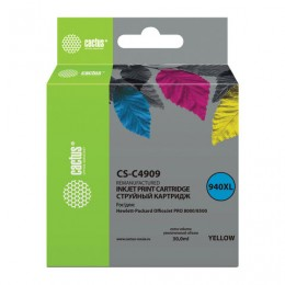 Картридж струйный CACTUS (CS-C4909AE) для HP Officejet pro 8000/8500, желтый, 72 мл