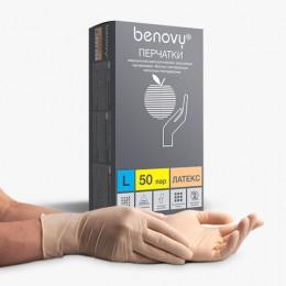 Перчатки латексные смотровые КОМПЛЕКТ 50 пар (100 шт.), размер L (большой), бежевые, BENOVY Latex Chlorinated