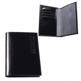 Обложка для паспорта BEFLER Classic, натуральная кожа, тиснение Passport, черная, O.23.-1