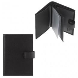 Бумажник водителя FABULA Largo, натуральная кожа, тиснение, 6 пластиковых карманов, кнопка, черный, BV.8.LG