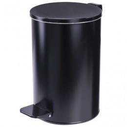 Ведро-контейнер для мусора с педалью УСИЛЕННОЕ, 10 л, кольцо под мешок, черное, оцинкованная сталь