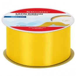 Лента атласная ширина 38 мм, длина 23 м, желтая, BRAUBERG, 591513