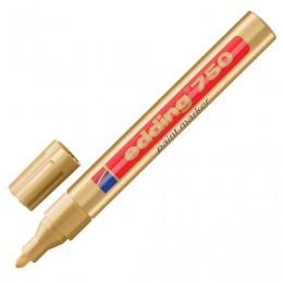 Маркер-краска лаковый (paint marker) EDDING 750, 2-4 мм, круглый наконечник, алюминиевый корпус, золотой, E-750/53