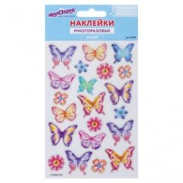 Наклейки гелевые Пастельные бабочки, с блестками, 10х15 см, ЮНЛАНДИЯ, 661780