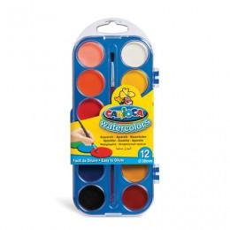 Краски акварельные CARIOCA Watercolor, 12 цветов, с кистью, пластиковая коробка, европодвес, KO040/A