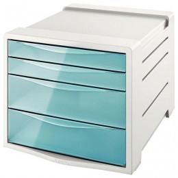Блок из 4 закрытых лотков для бумаги, настольный, ESSELTE Colour`Ice, 285х245х365 мм, голубой, 626284