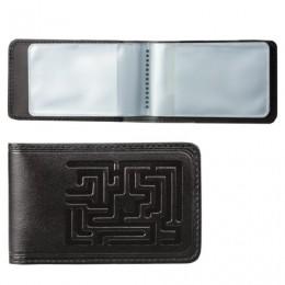 Визитница карманная BEFLER Лабиринт на 40 визитных карт, натуральная кожа, тиснение, черная, V.59.-7