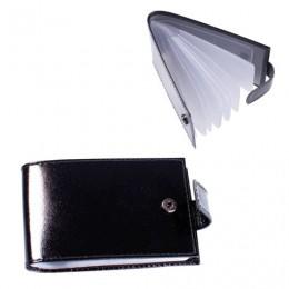 Визитница карманная BEFLER Classic на 40 визиток, натуральная кожа, кнопка, черная, V.31.-1