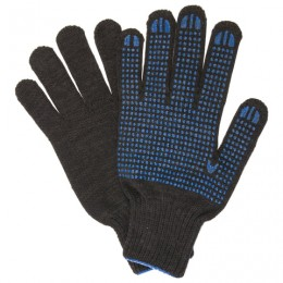 Перчатки хлопчатобумажные 10 класс, 50-52 г, 133 текс, ПВХ-точка, комплект 5 пар, ЛАЙМА ЛЮКС 2, плотные, черные, 604470