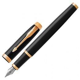 Ручка перьевая PARKER IM Core Black Lacquer GT, корпус черный глянцевый лак, позолоченные детали, синяя, 1931645