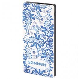 Аккумулятор внешний SONNEN POWERBANK V3802S ГЖЕЛЬ, 8000 mAh, 2 USB, литий-полимерный, 262916