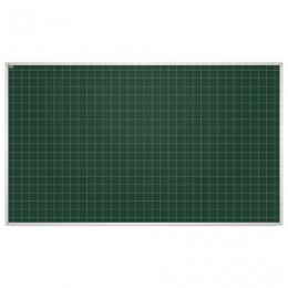 Доска для мела магнитная, 85x100 см, зеленая, в клетку, алюминиевая рамка, EDUCATION