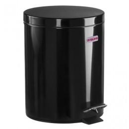 Ведро-контейнер для мусора (урна) с педалью ЛАЙМА Classic, 5 л, черное, глянцевое, металл, со съемным внутренним ведром, 604943