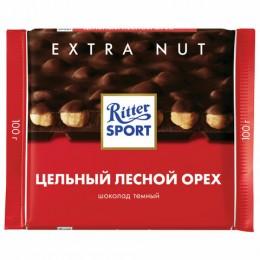 Шоколад RITTER SPORT Extra Nut, темный, с цельным лесным орехом, 100 г, Германия, 7026