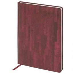 Еженедельник 2021 БОЛЬШОЙ ФОРМАТ (210*297мм), А4, BRAUBERG Wood, кожзам, бордовый, ко, 111532