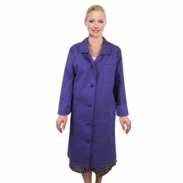 Халат рабочий женский синий, бязь, размер 48-50, рост 158-164, плотн. 142 г/м2, У02-Х